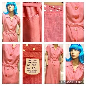 Vtg. 50's Pink Day Dress Front Pockets-Polkadot